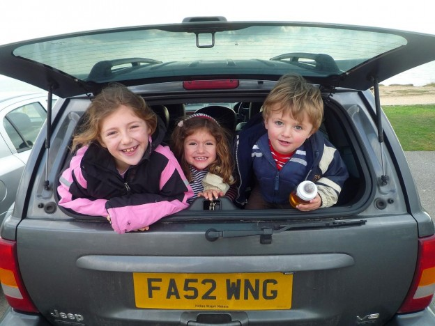 kids in boot of car