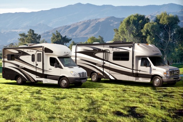two older motorhomes side by side